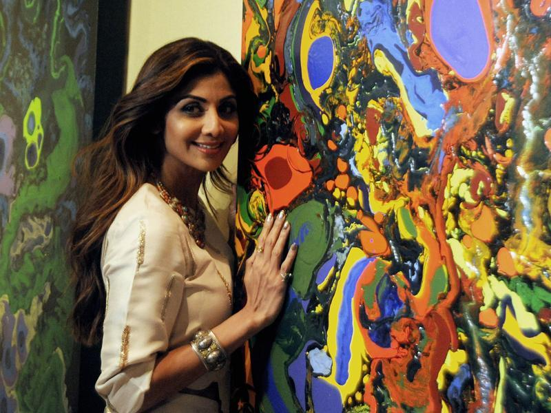 Shilpa Shetty Kundra attends the opening of the painting exhibition Flow Dreams by artist Anu Malhotra in Mumbai. (AFP Photo)