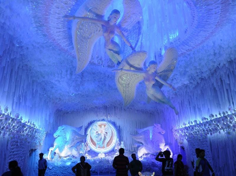 All white and blue! A look at the Abasar Club Durga Puja pandal in Kolkata on Wednesday, October 5, 2016. (Samir Jana/HT PHOTO)