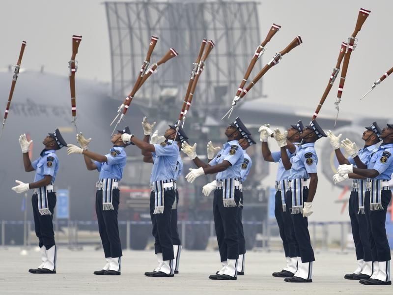 The 'Air Warrior' drill team rehearse two days ahead of the 84th Air Force Day parade at the Air Force Station Hindon in Ghaziabad, on the outskirts of New Delhi, on October 6, 2016. The parade will mark the anniversary of the Air Force. (Raj K Raj/HT PHOTO)