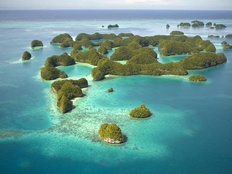 Site Rock Islands Southern Lagoon, Republic of Palau: The island country of the Republic of Palau is located in the Pacific Island. This is a small collection of limestone or coral uprises, ancient relics of coral reefs.  (AFP)