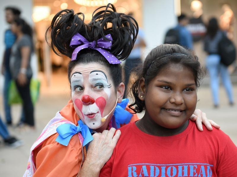 Maggie the clown poses for a picture.  (Pratik Chorge/HT PHOTO)