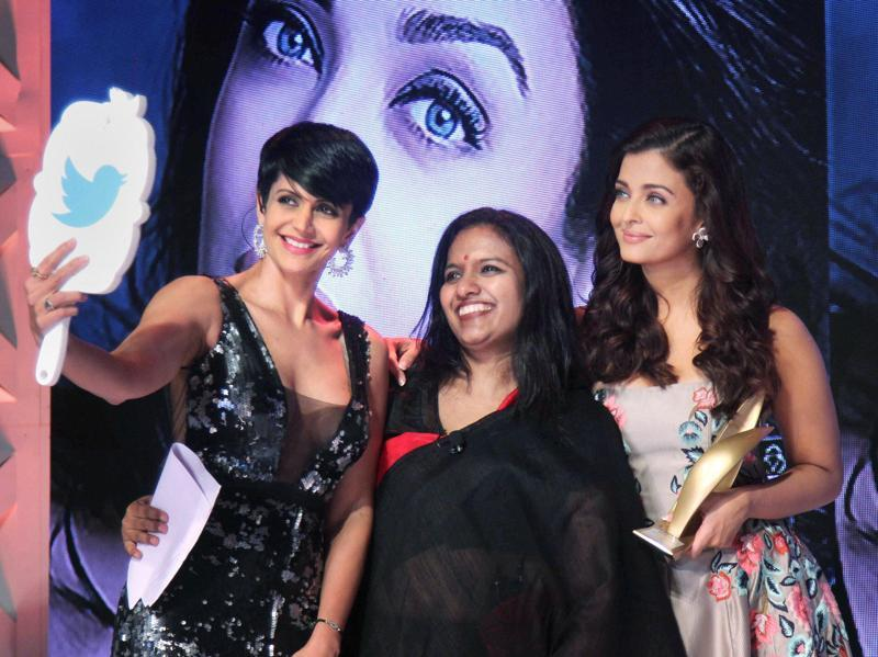 Aishwarya Rai Bachchan and Mandira Bedi click a selfie at the Seventh Outlook Business Outstanding Women Awards in Mumbai on Friday.  (PTI)