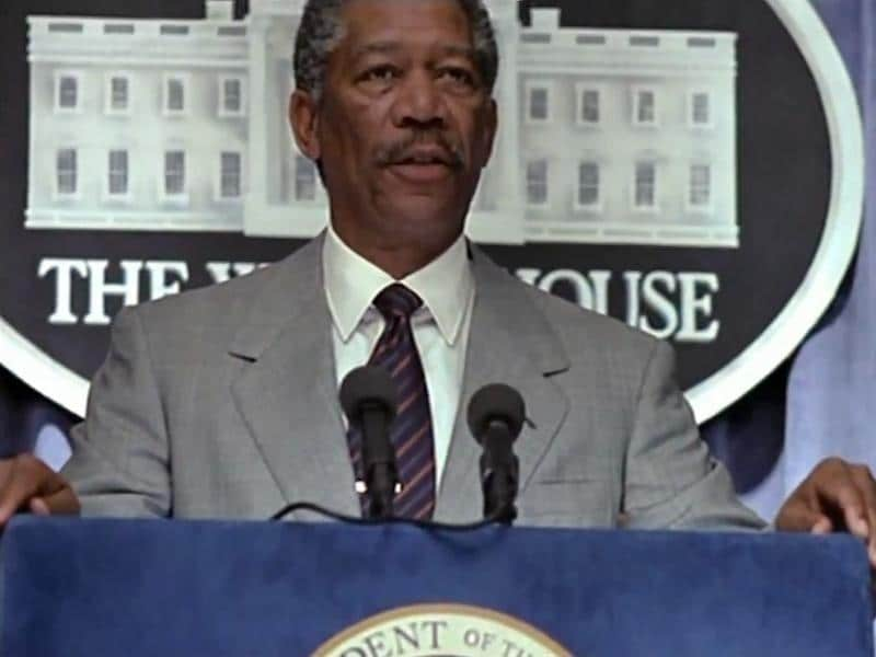 Years before Barack Obama, Morgan Freeman played a black US President in Deep Impact. He had some really depressing news for the world.
