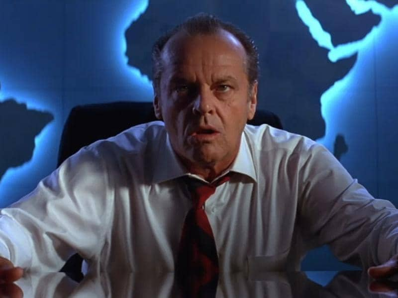 When Martians attack the Earth, the only man who should be allowed to break the news to us is Jack Nicholson's President James Dale.