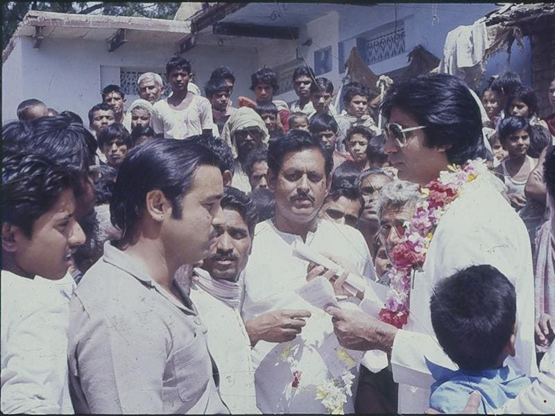 Actor and Congress MP Amitabh Bachchan with the people of his constituency, Allahabad (UP). (HT Archives)
