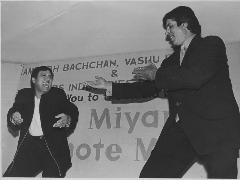 Amitabh Bachchan and Govinda dancing before the Bade Miyan Chote Miyan audio launch at Le Meridien in New Delhi. (HT Archives)