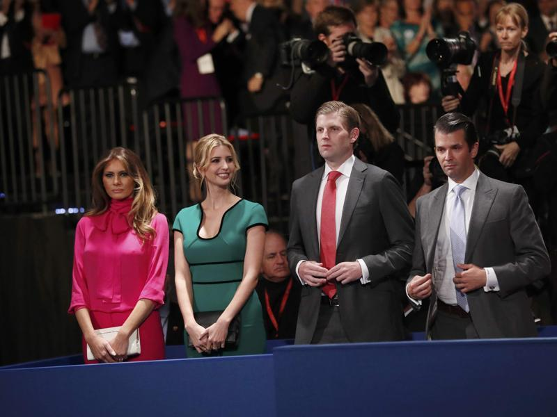 Melania Trump, Ivanka Trump, Eric Trump and Donald Trump Jr. stand before the presidential town hall debate. (Reuters Photo)