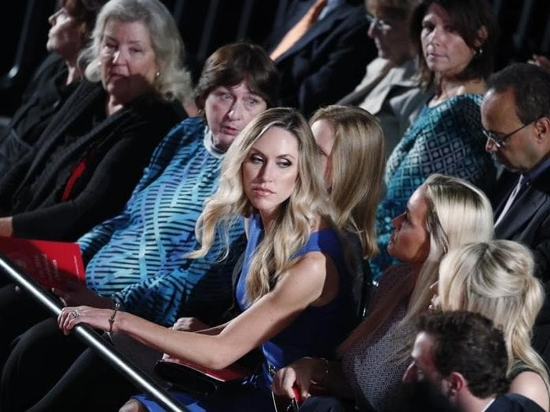 Donald Trump's daughters-in-law Lara Trump (centre), is seen seated at the start of the second US presidential town hall debate. (Reuters Photo)