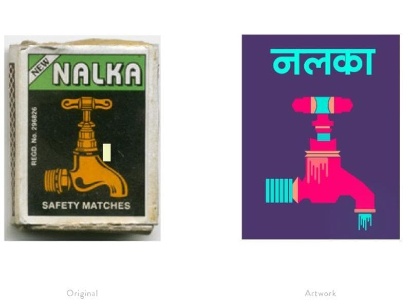 A reinterpretation of a matchbox label featuring a tap.  (Photo courtesy: The Maachis Project)