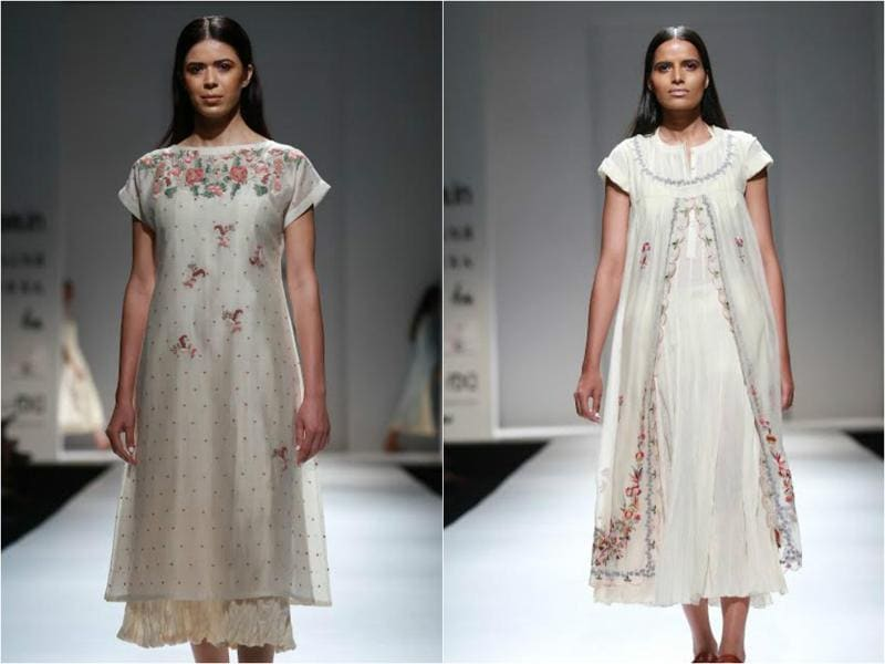 Pratima Pandey's collection saw easy, flowy fabrics with floral motifs dominating all else.  (Amal KS/HT Photo)