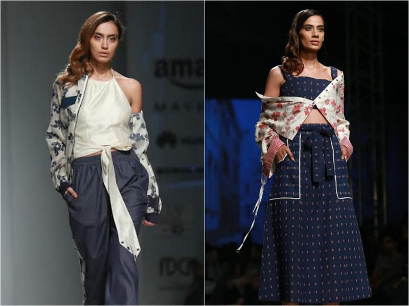 Knotted tops made for a flattering sight at Shruti Sancheti's show. She also used big pockets in her collection that looked chic. (Amal KS/HT Photo)