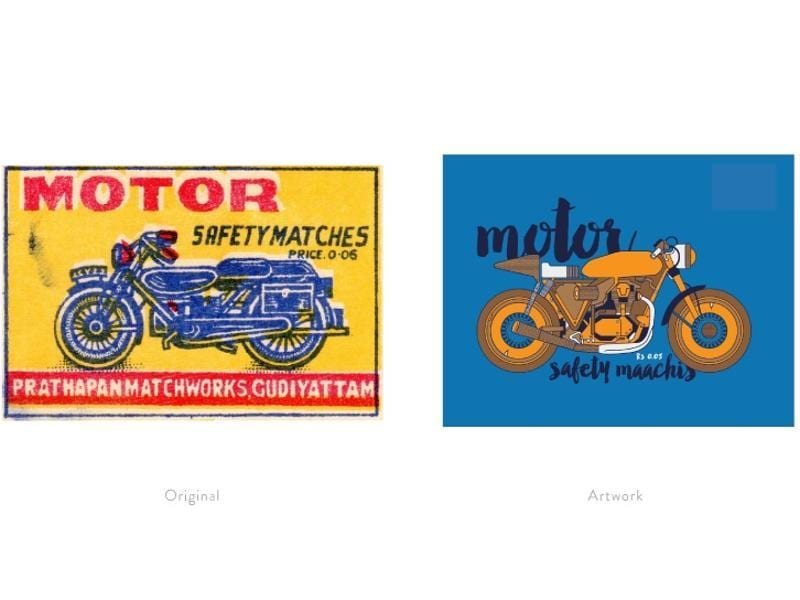 A reinterpretation of a matchbox label featuring the Royal Enfield Bullet 500.  (Photo courtesy: The Maachis Project)