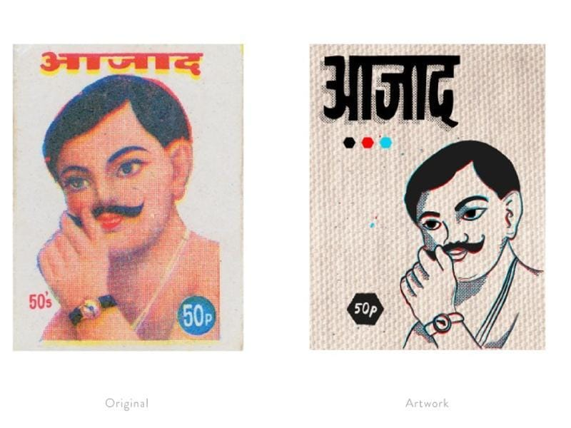 A reinterpretation of a matchbox label featuring freedom fighter Chandra Shekhar Azad.  (Photo courtesy: The Maachis Project)