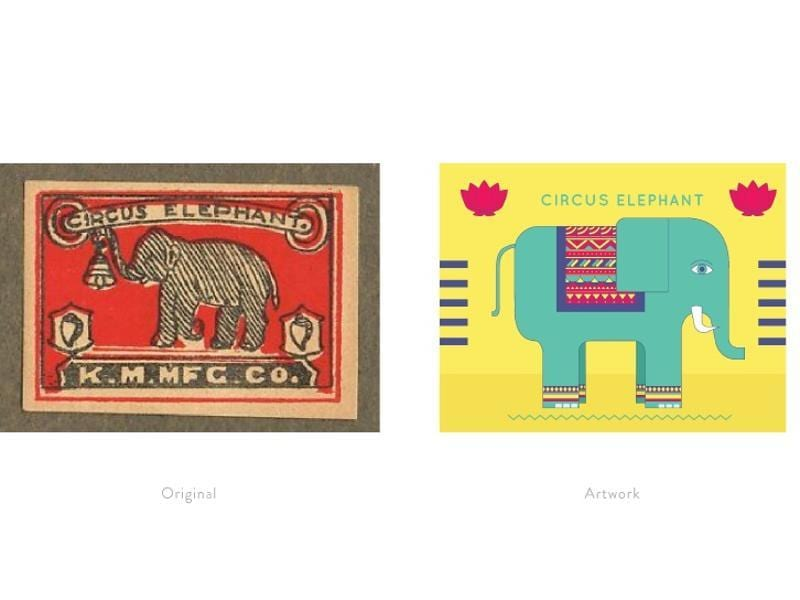A reinterpretation of a matchbox label featuring a circus elephant.  (Photo courtesy: The Maachis Project)