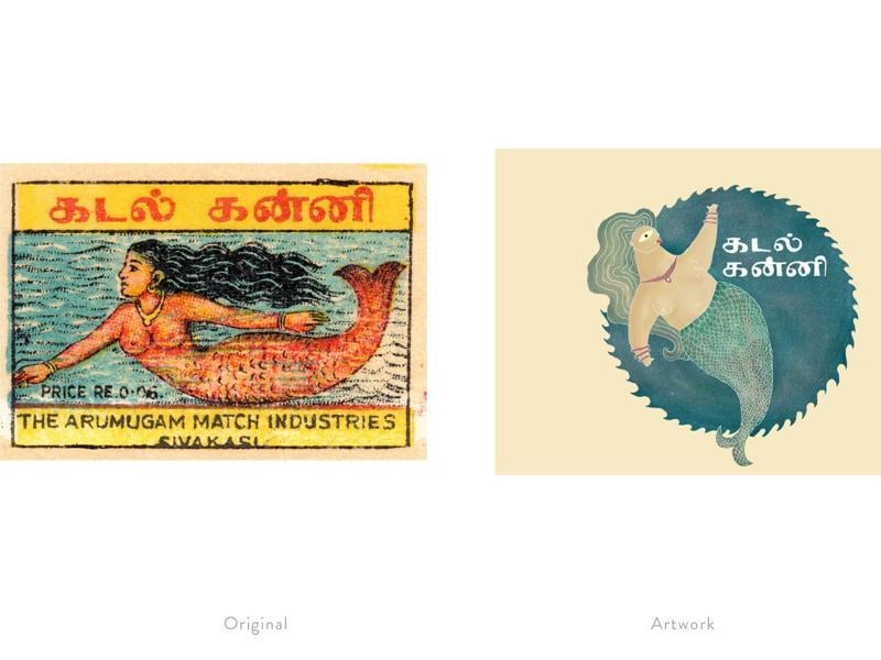 A reinterpretation of a matchbox label featuring a mythical mermaid.  (Photo courtesy: The Maachis Project)