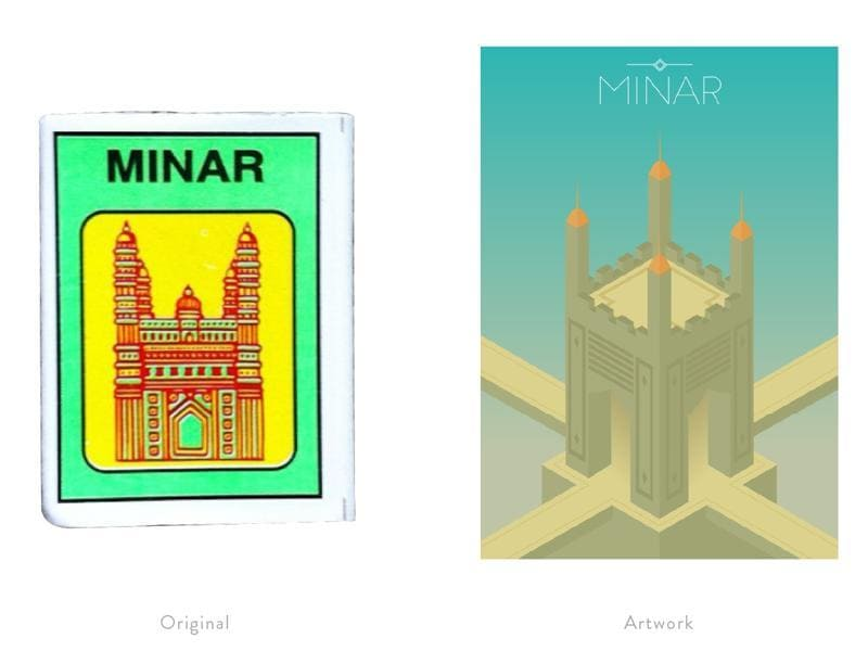 A reinterpretation of a matchbox label featuring the famous islamic structure in Hyderabad - Charminar.  (Photo courtesy: The Maachis Project)