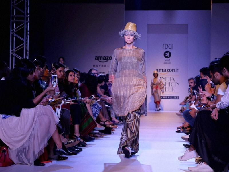 Day 2 of the mega event saw several prominent fashion designers, including Urvashi Kaur, Pratima Pandey, Shruti Sancheti and Payal Pratap, display their collection. (PTI)