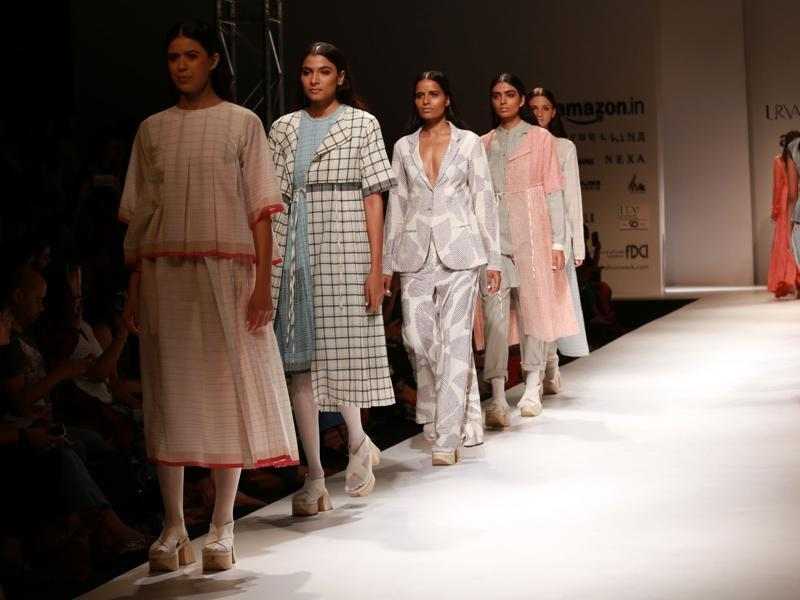 Models display the creation of fashion designer Urvashi Kaur. (IANS)