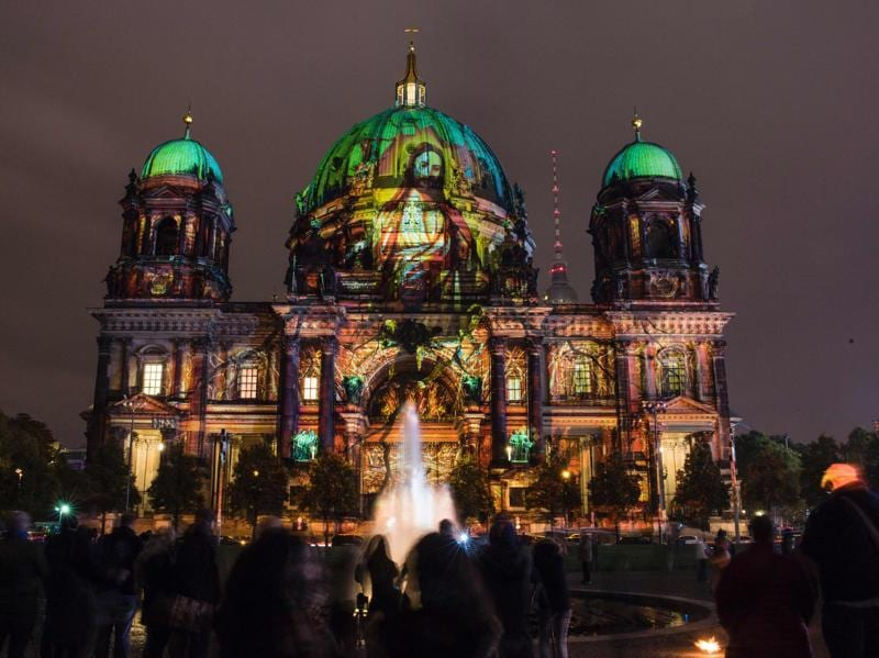 For nearly two weeks, famous buildings and monuments like Brandenburg Gate, Fernsehturm, Berlin Cathedral, Berlin Victory Column etc become canvasses of illumination and light art. Religious imagery is projected on the facade of the Berlin Cathedral (Berliner Dom). (AFP)