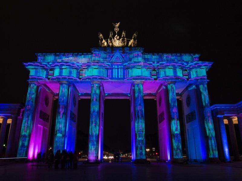 The annual Berlin Festival of Lights takes place in October. Colourful designs are projected on the facade of the Brandenburg Gate as part of the yearly Festival of Lights in Berlin on October 13, 2016. The festival lasts from October 7 to 16. (AFP)