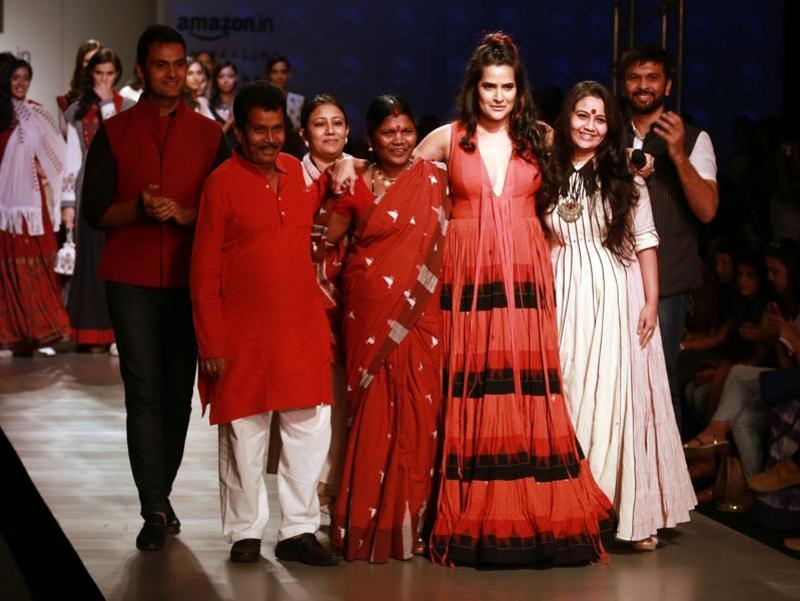 Singer Sona Mohapatra added star value to the second day of the Amazon India Fashion Week Spring/Summer 2017 as she walked the ramp on Thursday for Virtues.  (IANS)