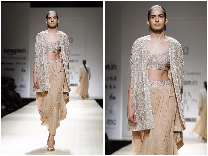 A model sporting cape dhoti for Rabani & Rakha. (Waseem Gashroo/HT Photo)