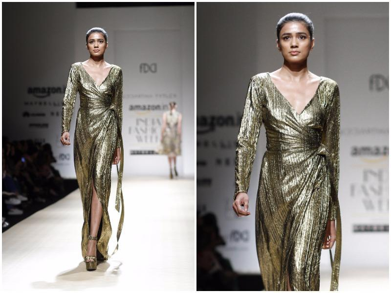 Sexy, shimmery dresses ruled the ramp at Sidharth Tytler's show. (Waseem Gashroo/HT Photo)
