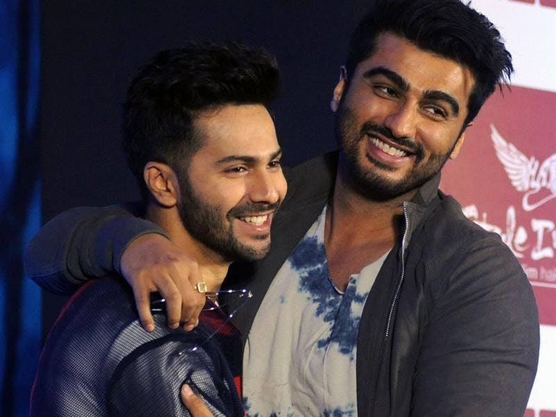 Bollywood actors Varun Dhawan and Arjun Kapoor attend the launch of the second season of the television show Style Inc in Mumbai. (AFP Photo)
