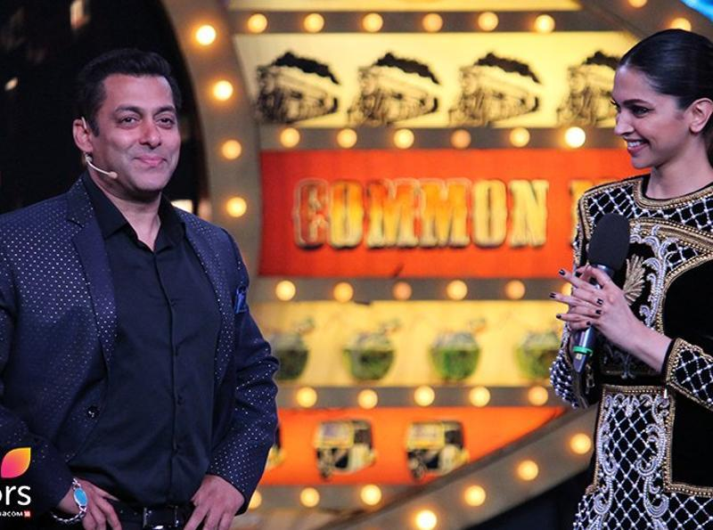 Salman Khan shares some good time with Deepika on the sets of Bigg Boss 100. (COLORS)