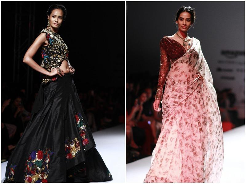 Lehengas with floral motifs (left) were seen at Pallavi Jaipur's show, a model walking the ramp for Pallavi Jaipur in a chiffon sari and draped blouse.