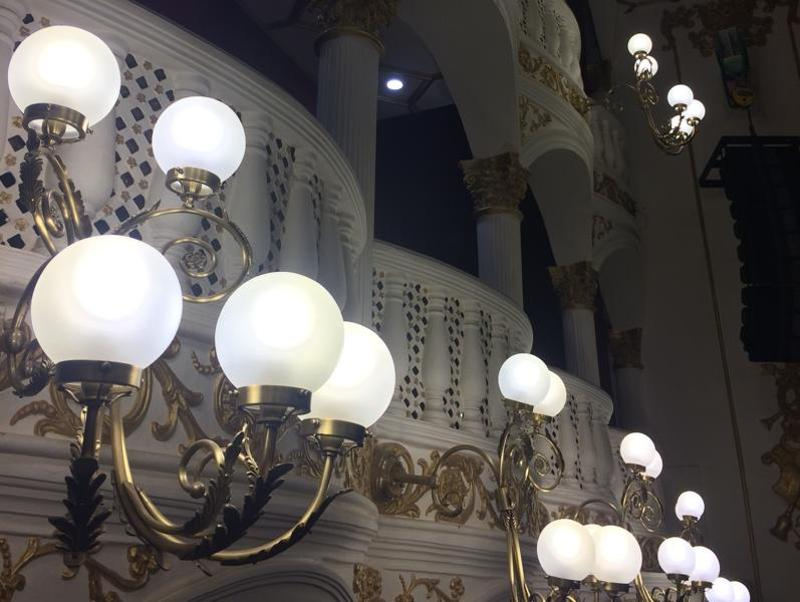 Lamps on the intricately designed sconces light up the venue. (Aalok soni/ht photo)
