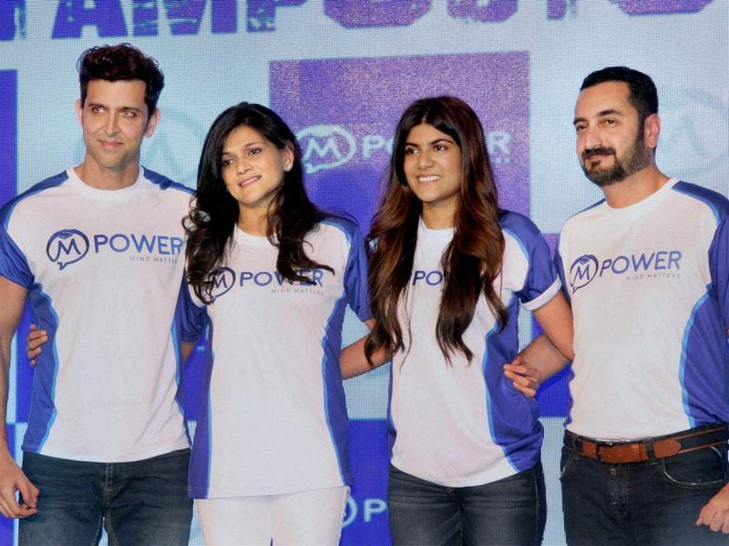 Neerja Birla, Founder and Chairperson, Mpower along with her daughter Ananya Birla and Bollywood actor Hrithik Roshan during the launch of Mpower Everyday Heroes campaign in Mumbai. (PTI Photo)