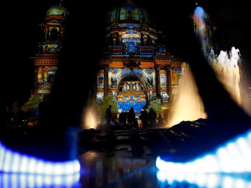 The Berlin Cathedral is illuminated during the Festival of Lights show in Berlin, Germany. (REUTERS)
