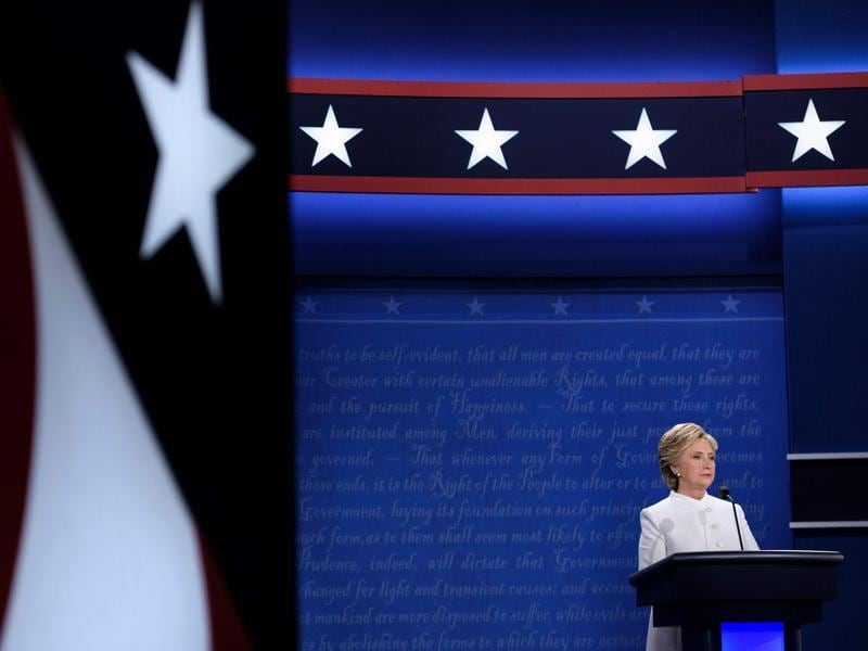 Democratic nominee Hillary Clinton speaks during the final presidential debate. (AFP Photo)