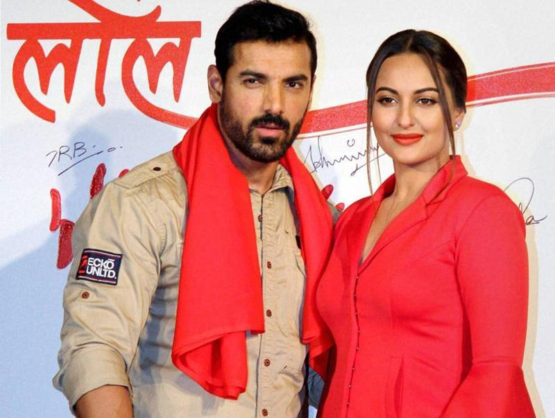 Bollywood actors John Abraham and  Sonakshi Sinha at the launch of promotional video titled Rang Laal for the film Force 2 in Mumbai. (PTI Photo)