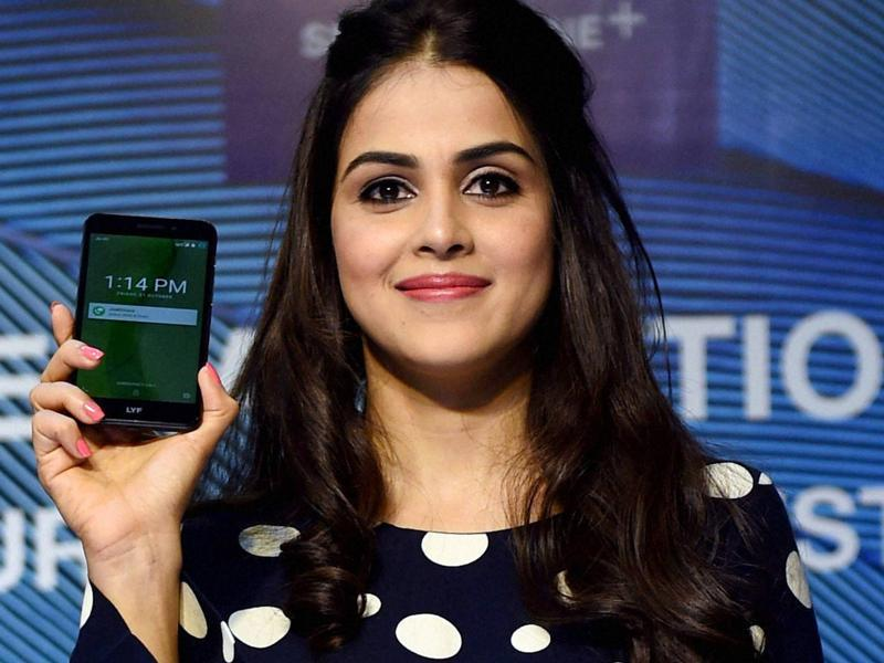 Genelia D'Souza at a product launch in Mumbai. (PTI Photo)