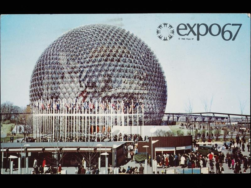 The exhibition features more than 350 items, encompassing photographs, posters, literature and, of course, music and design. Seen here, a post card of the 1967 World Fair in Montreal, Canada. (AFP)