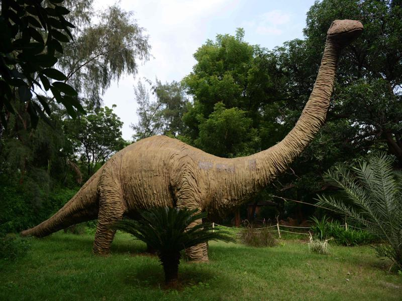 Seen here is a life-sized model of a dinosaur at the park. One of Aalia's most-prized possessions is a fossilised dinosaur egg she found an unsuspecting villager using to grind spices on her ancestral lands, an area billed as India's Jurassic Park.  (AFP)