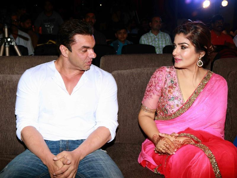 Sohail Khan and Raveena Tandon during the music launch of Marathi film Bhay in Mumbai. (IANS Photo)