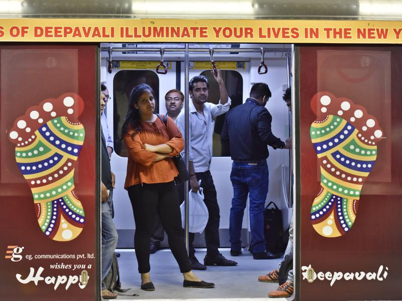 The Delhi metro's violet line network was specially decorated ahead of Diwali. (Sanjeev Verma/HT Photo)