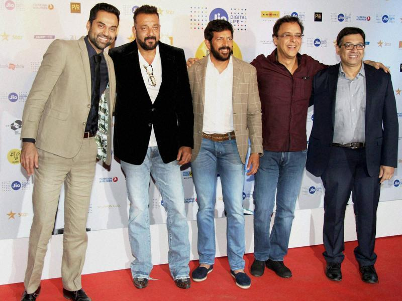 Abhay Deol, Sanjay Dutt, Kabir Khan and Vidhu Vinod Chopra during the closing ceremony of MAMI 18th Mumbai Film Festival in Mumbai. (PTI Photo)