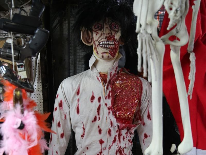 This life-size bloodied ghost costs Rs 6500.  (Prabhas Roy/HT Photo)