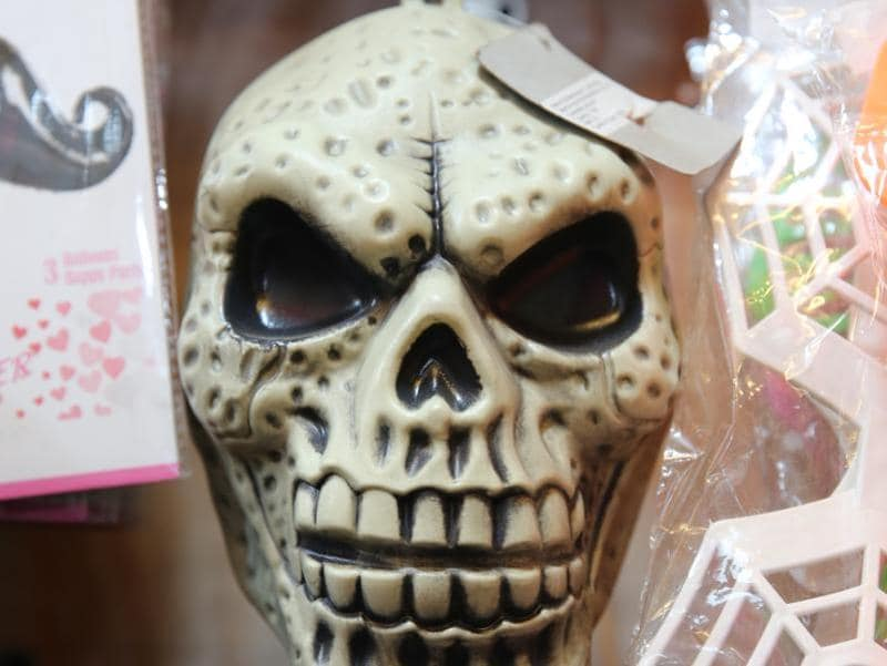 Available at Rs 120, the skull is perfect for your horror theme party.  (Prabhas Roy/HT Photo)