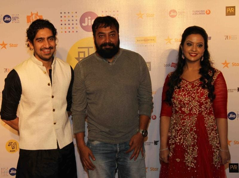 Filmmakers Ayan Mukerji, Anurag Kashyap and Amruta Fadnavis, wife of Maharashtra Chief Minister Devendra Fadnavis, during the closing ceremony of MAMI 18th Mumbai Film Festival in Mumbai on October 27, 2016. (IANS Photo)