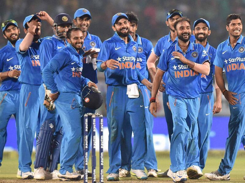 Indian team celebrate after their victory over New Zealand during the 5th ODI cricket match. (PTI photo)