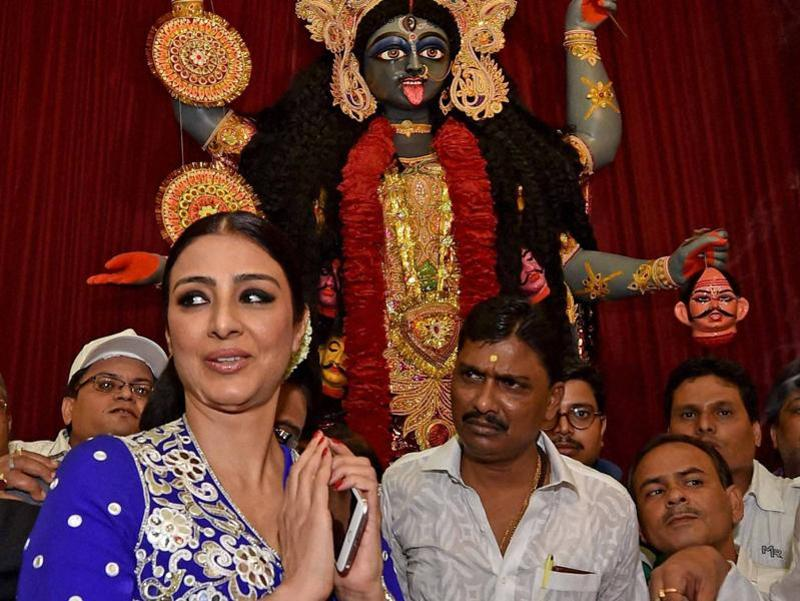 Bollywood actor Tabu during the inauguration of a Kali Puja pandal in Kolkata. (PTI Photo)