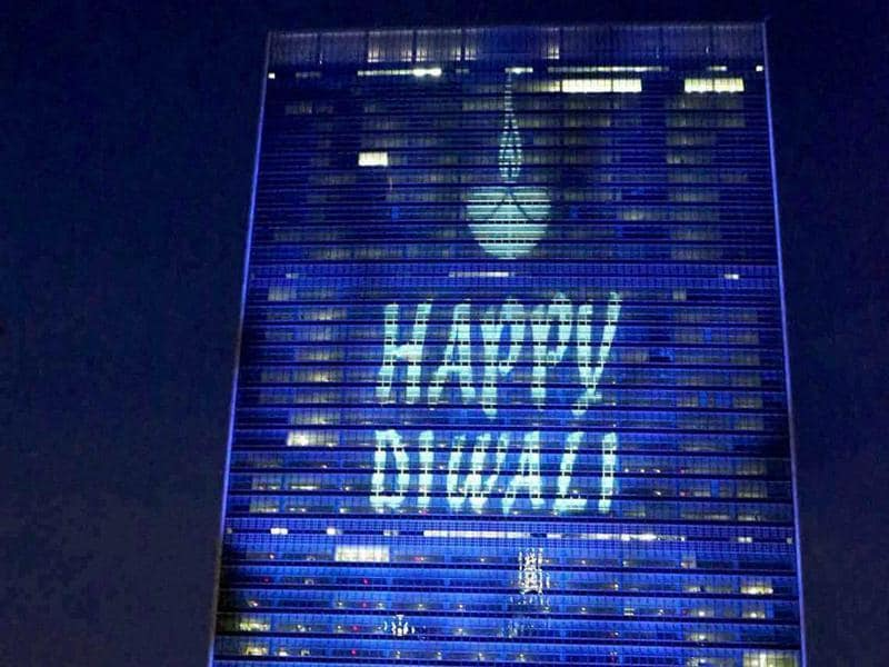 The UN headquarters lights up and greets people on the occasion of Diwali for the first time, in New York on Saturday.  (PTI)