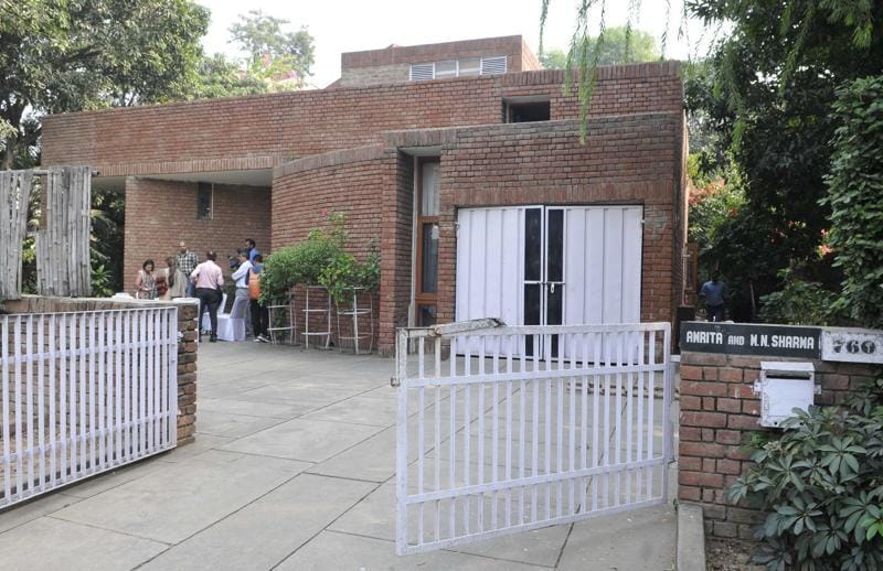 The house in which MN Sharma lived, in Sector 8, Chandigarh. (HT Photo)