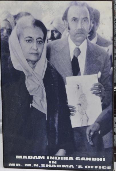 MN Sharma with the then PM Indira Gandhi when she visited his office in the early 1970s. (Photo: Sharma's personal collection)