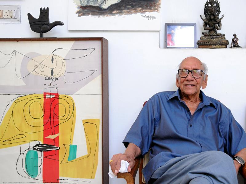 MN Sharma, the first Indian chief architect of Chandigarh — who died on Sunday — at his house in Chandigarh on June 14, 2015. (HT File Photo)